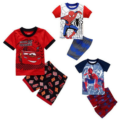 Summer Baby Kids Boys Cartoon T-shirt Tops Shorts Outfits Sets Clothes Sz 1-7Y