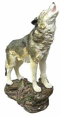 Large Wildlife Forest Howling Gray Alpha Wolf Figurine Collectible Nature Statue