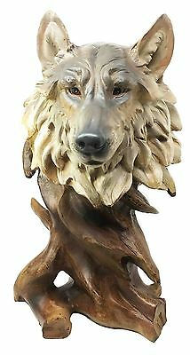 Large Wildlife Forest Mystic Alpha Gray Wolf Bust Figurine Collectible Statue