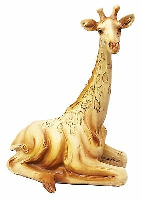 Safari Grasslands Savannah Graceful Giraffe Resting Figurine In Faux Wood Statue