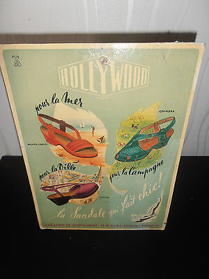 carton publicitaire ancien vintage mode chaussure Hollywood  ( ref 20 )