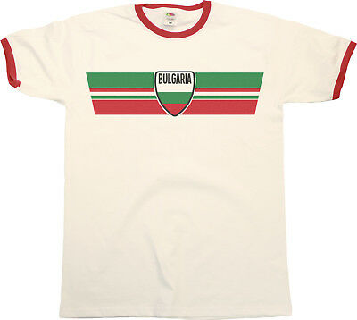 Mens Ringer T-Shirt BULGARIA RETRO STRIP Football,Olympics,Patriotism