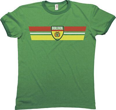 Mens Ringer T-Shirt BOLIVIA RETRO STRIP Football Sports Copa America 2019 Top