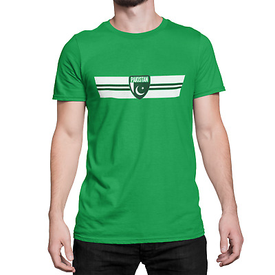 Mens Ringer T-Shirt PAKISTAN RETRO STRIP Football,Cricket,Olympics