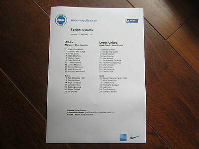 2015/16 BRIGHTON & HOVE ALBION  v LEEDS UNITED  OFFICIAL  TEAM SHEET