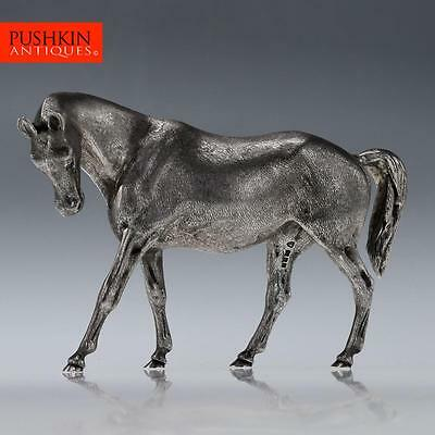 STUNNING 20thC SOLID SILVER MODEL OF A HORSE, LONDON c.1983