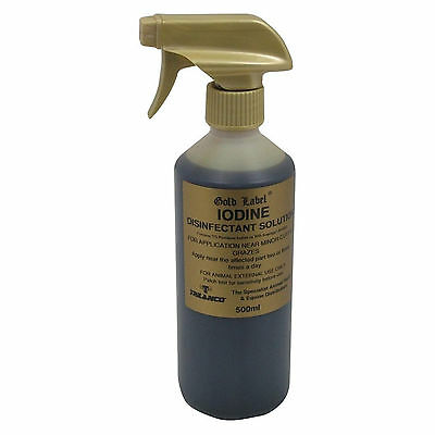 Gold Label Iodine Disinfectant Spray Horse Care Animal First Aid 250ML /  500ML
