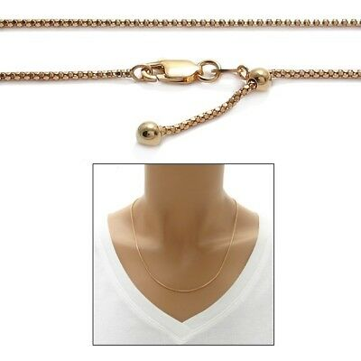 "925 Sterling Silver Rose Gold 22""-36"" Adjustable Popcorn Chain Necklace"