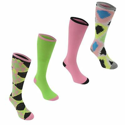 4 Pairs Knee Length Fancy Ladies Plain/Jazzy Design Socks Pink Multi Greens 4-8
