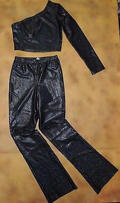 NWOT Body Wrappers 2Piece Dance Set Top Pants Hologram Snake Skin Wet Look Ch Md