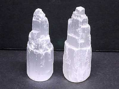 2 SELENITE Small White Gypsum Castles Towers 2.25 Inches