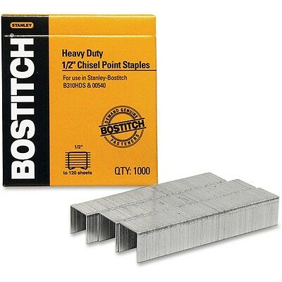 """Stanley Bostitch Heavy-Duty Staples, 1/2 Leg, 100 Strip Count, 1000/Box"""