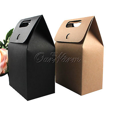 10/50 Gift Kraft Box With Handle Soap Candy Paper Box Wedding Party Favor Decor