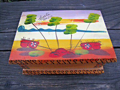 Souvenir Costa Rica Wooden Decorative Box Container Hinged Lid Hand Painted