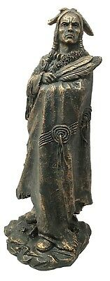 Native American Large Indian Warrior Chief In Animal Coat Figurine Sculpture