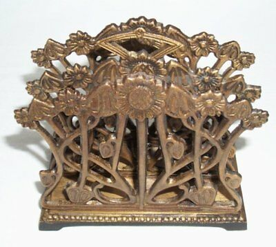 G222: Art nouveau Brass Letter rack, Solid brass and black oxide finish