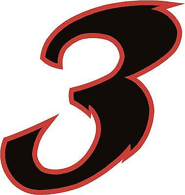 x1 Digit (MORE in EBAY SHOP) Race Numbers vinyl stickers Style 2 Black/Red
