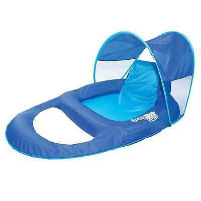 SwimWays Spring Float Recliner Pool Lounge Chair w/ Sun Canopy, Blue   13022