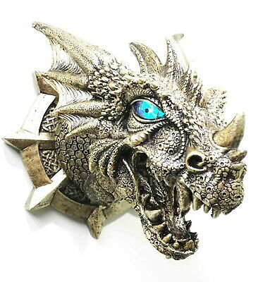 Castle Dungeon Chained Golden Dragon Wall Plaque With Color Changing LED Eyes