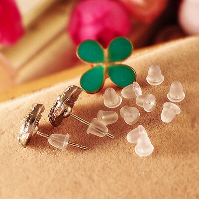 Wholesale 500pcs Silicone Earring Studs Findings Back Plugs Stoppers Post Nuts