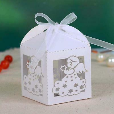 50pcs Laser Cut Angle Wedding Baby Shower Party Candy Favor Gift Boxes