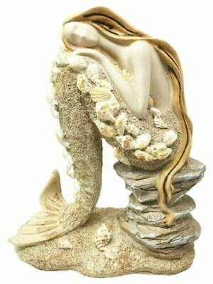 Ocean Atlantis Goddess Sitting Mermaid Adorned With Shells Figurine Collectible