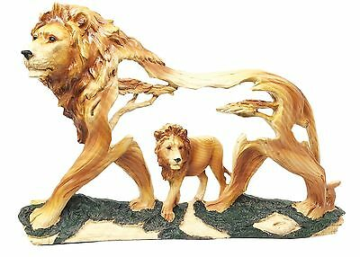 Rustic Faux Wood Majestic African Savannah Pride Lion Scene Figurine Sculpture