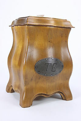 'Enkeboll' Carved Wood Canister Distressed Style 4-Footed W/ Pewter 'TE' Label
