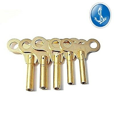 Clock Keys Mantle Clocks Numbers 5-6-7-8-9  5 Key Set Brass