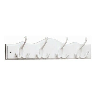 62540 4Hook WHT Coat/Hat Rail