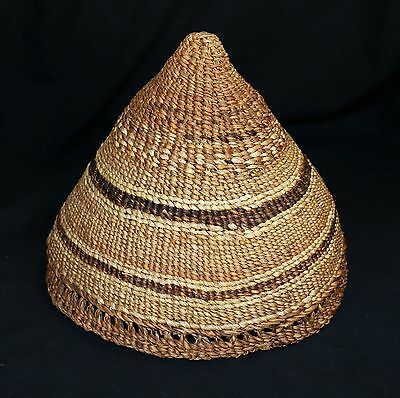 "Unusual Siletz or Grand Ronde Native American Burden Basket or Hat 8 1/2""d"
