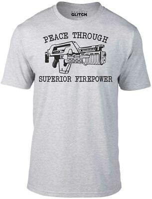 Mens Peace Through Superior Firepower T-Shirt - Funny t shirt sci fi alien retro