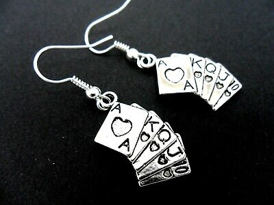 A Pair Of Tibetan Silver  Playing Cards Poker Hand Earrings. New.