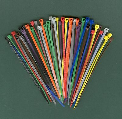 """100 4"""" Inch Long 18# Pound Nylon Cable Ties 10 COLORS Zip Tie Ty Wrap MADE USA"""