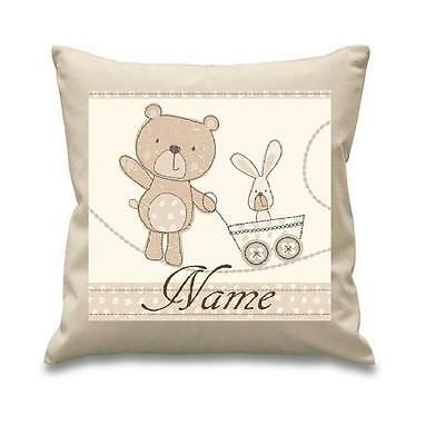Little Teddy Bear Cushion Cover Can Be Personalised Brand New Free P&p