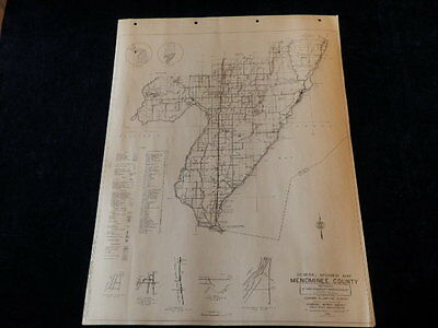 "Vtg 1940 Menominee County Highway Planning Survey FWA 18x24"" Sect 2 Road Map MI"