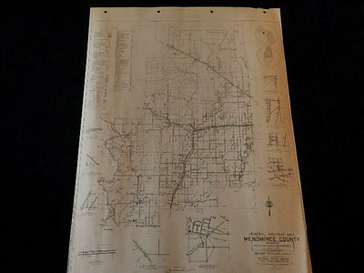 "Vtg 1940 Menominee County Highway Planning Survey FWA 18x24"" Sect 1 Road Map MI"