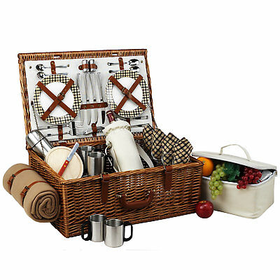 Picnic At Ascot Dorset Basket for Four with Coffee Set and Blanket in London