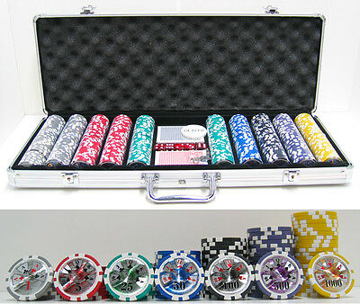 JP Commerce 500 Piece High Roller Clay Poker Chips with Laser Effects