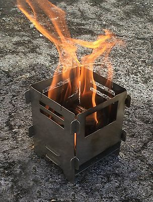 Stainless Steel Fire Bush Box Portable Pocket Stove Camping Two Sizes Available