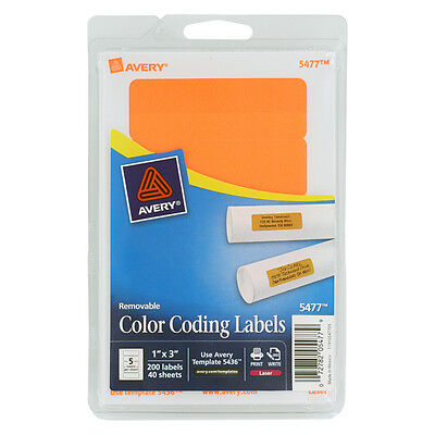 """""""Avery Printable Removable Color-Coding Labels, 1 X 3, Neon Orange, 200/pack"""""""