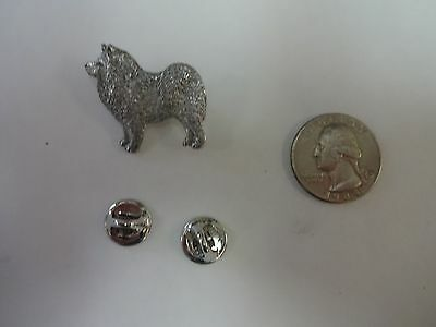 Vintage SIGNED Harris Samoyed Dog Pin Brooch PEWTER Jewelry Collectible