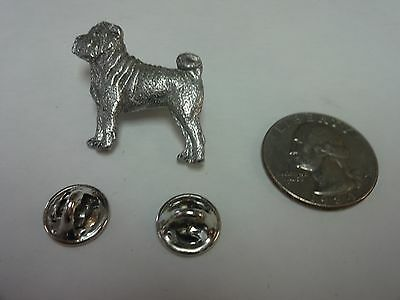 Vintage SIGNED Harris Shar Pei Dog Pin Brooch PEWTER Jewelry Collectible