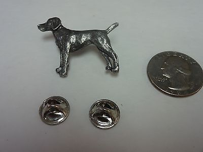 Vintage SIGNED Harris Vizsla Handsome Dog Pin Brooch PEWTER Jewelry Collectible