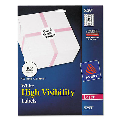 """Avery High Visibility Round Laser Labels, 1 2/3"""" Dia, White, 600/pack"""