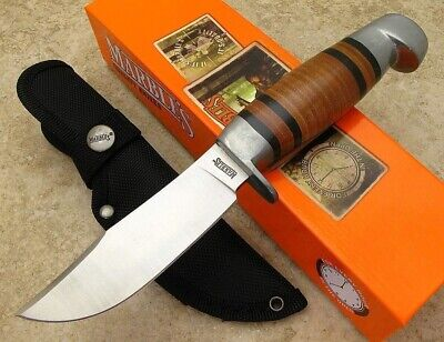 Marbles Stacked Leather Handle Fixed Blade Hunting Knife with Sheath