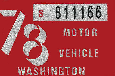 1978 WASHINGTON Vinyl Sticker Decal -CAR or TRUCK License Plate Reg. TAB TAG-New