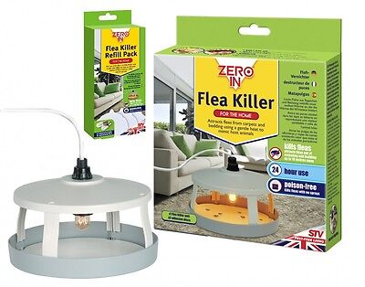 STV ZERO IN FLEA TRAP KILLER + Refill, TRAPS DOG FLEAS KILLS FLEA POISON FREE