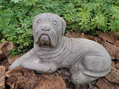 """Vintage Cement 11"""" Long Sad Puppy Dog Lying Garden Statue Weathered Concrete"""