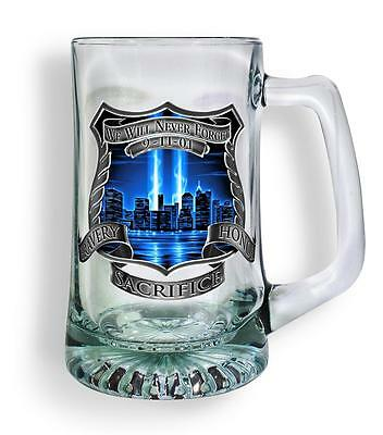 25 oz Glass Tankard Beer Mug Stein Police Law Officer, 9/11 We Will Never Forget